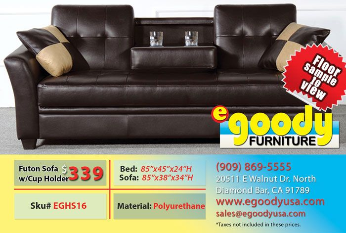 futon sofa bed couch with center console and storage cushion pu leather black or brown with 2. Black Bedroom Furniture Sets. Home Design Ideas