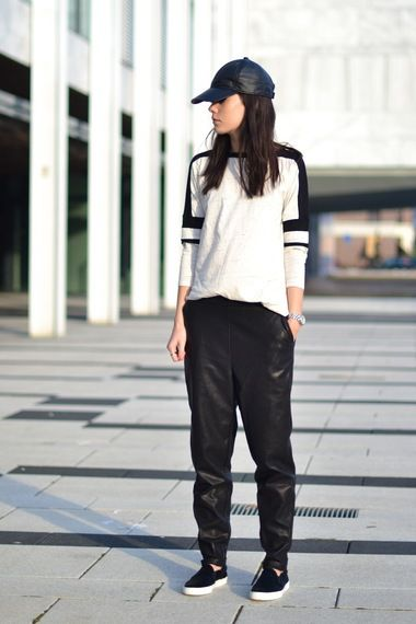 Street Style: sports luxe monochrome panel jumper with leather track pants