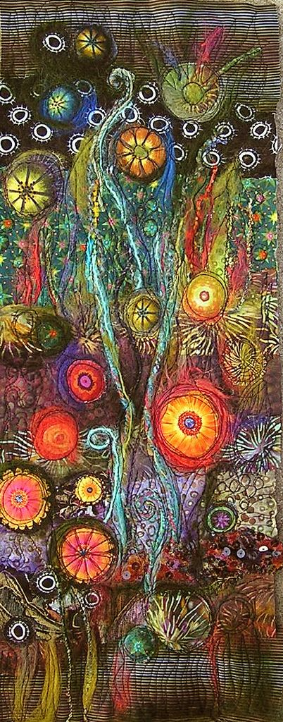 Art Quilt  9 x 20 inches Photographed outside late in the day. I think the scanned versions captured  the colors better!