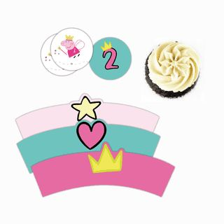 Wrappers para cupcakes de Peppa Hadita. Mirá todas las fotos del kit imprimible en www.cumplekits.com