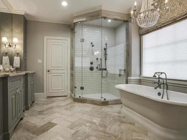 French Country House Tour White Subway Tiles In Shower Herringbone Tile Pattern On Floor