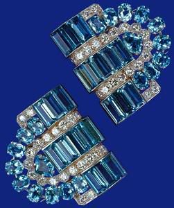 Aquamarine and Diamond clip earring a 19th birthday gift from Princess Elizabeth's parents in 1944