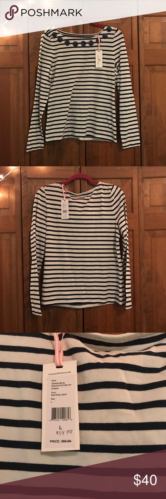 Vineyard Vines Navy/White Striped Long Sleeve NWT Vineyard Vines Size: Large, Color: Nautical Navy, Striped Long Sleeve Top New with Tags. Sequin embellishments along neckline in navy blue. Never been worn, completely new. 96% Cotton, 4% Spandex Vineyard Vines Tops Tees - Short Sleeve