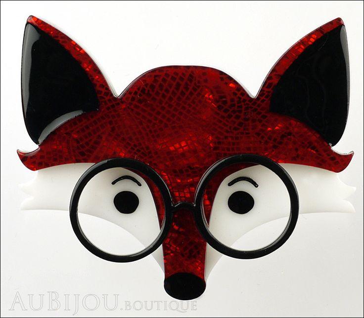 Erstwilder Brooch Pin Oscar Wildenfox Fox Red