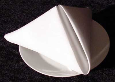 Simple napkin fold - the one I did a million times as a waitress. Wow, that was a long time ago! Stands up to humidity for outside parties