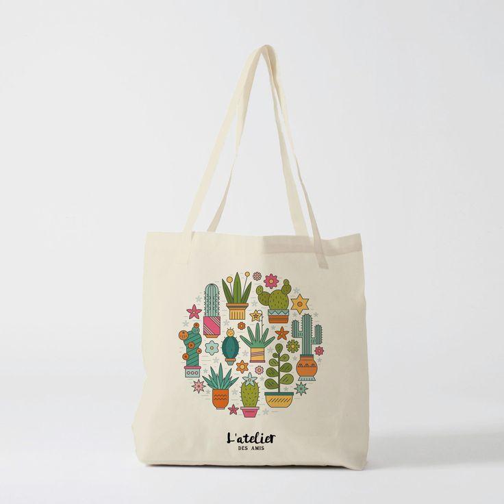 X61Y tote bag cactus, sac pour shopping, sac à offrir, sac pour anniversaire, sac mariage
