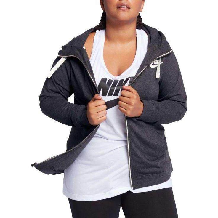Nike Women's Plus Size Sportswear Gym Classic Full Zip Hoodie, Size: 1XL, Black Heather