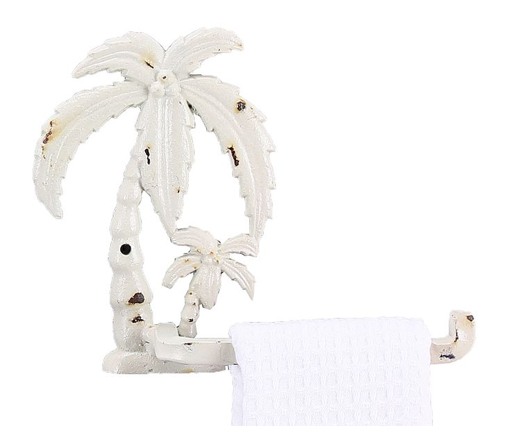 palm tree bath towels | ... Distressed White Tropical Palm Tree Bathroom Towel Toilet Paper Holder
