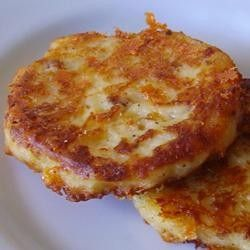 Leftover mashed potatoes recipe: Bacon Cheddar Potato Cakes---as if we ever had any left over mashed potatoes!