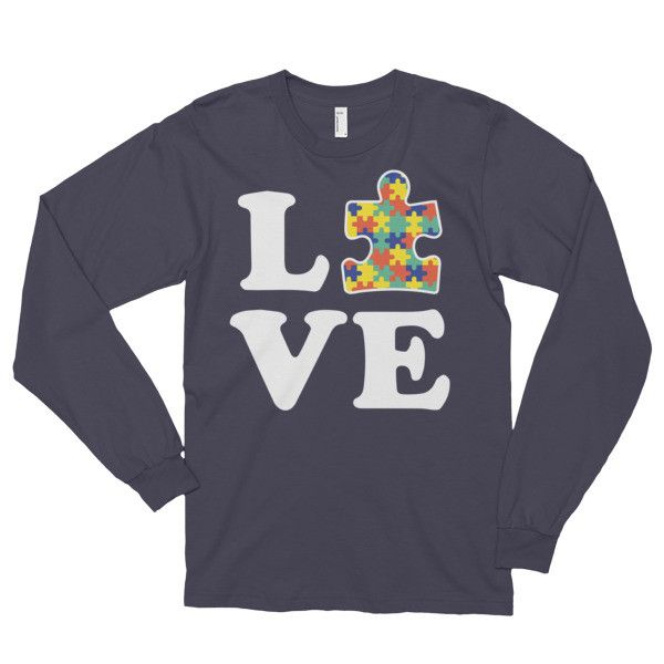Love Autism - Autism Awareness Long sleeve t-shirt (unisex) - This long-sleeved t-shirt is made of the ultra-smooth American Apparel cotton, and adds the sensibility of long sleeves. The sleeves are c