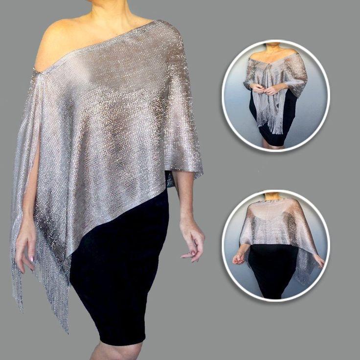 Adjustable Silver Evening Shawl Grey Dress Wrap Women's Formal Wear By ZiiCi