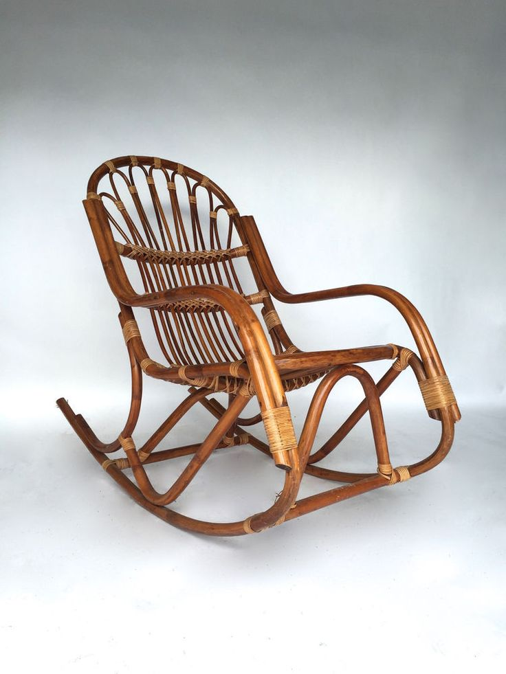 Details About Vintage Rattan Bamboo Rocking Chair Franco