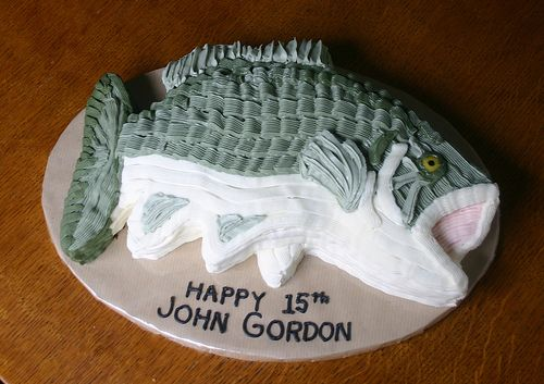 Bass Fish Birthday Cake by Fat Cat Cakes, via Flickr