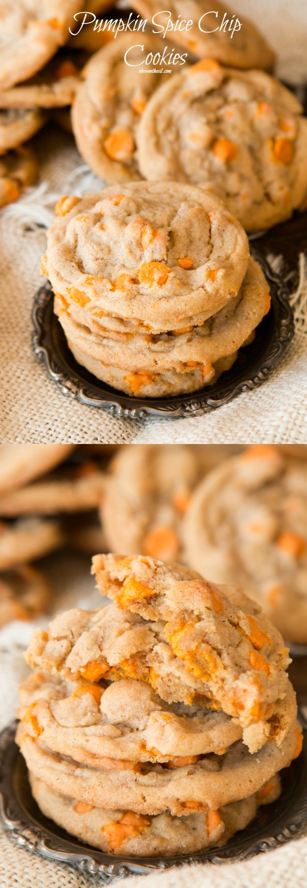 We are loving these pumpkin spice chips in an easy spice cookie! ohsweetbasil.com