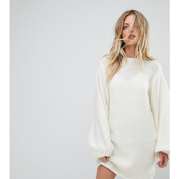 OneOn Hand Knitted Balloon Sleeve Dress ($210) ❤ liked on Polyvore featuring dresses, cream, cable knit dresses, baggy dress, pom pom dress, crew neck dress and cream dress