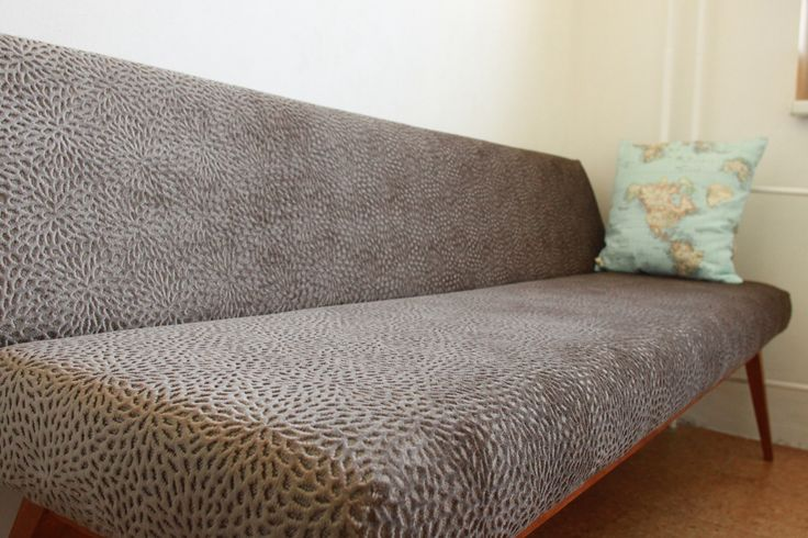 Completely renovated sofa by Full Size Interior. Fabric by Alhambra.