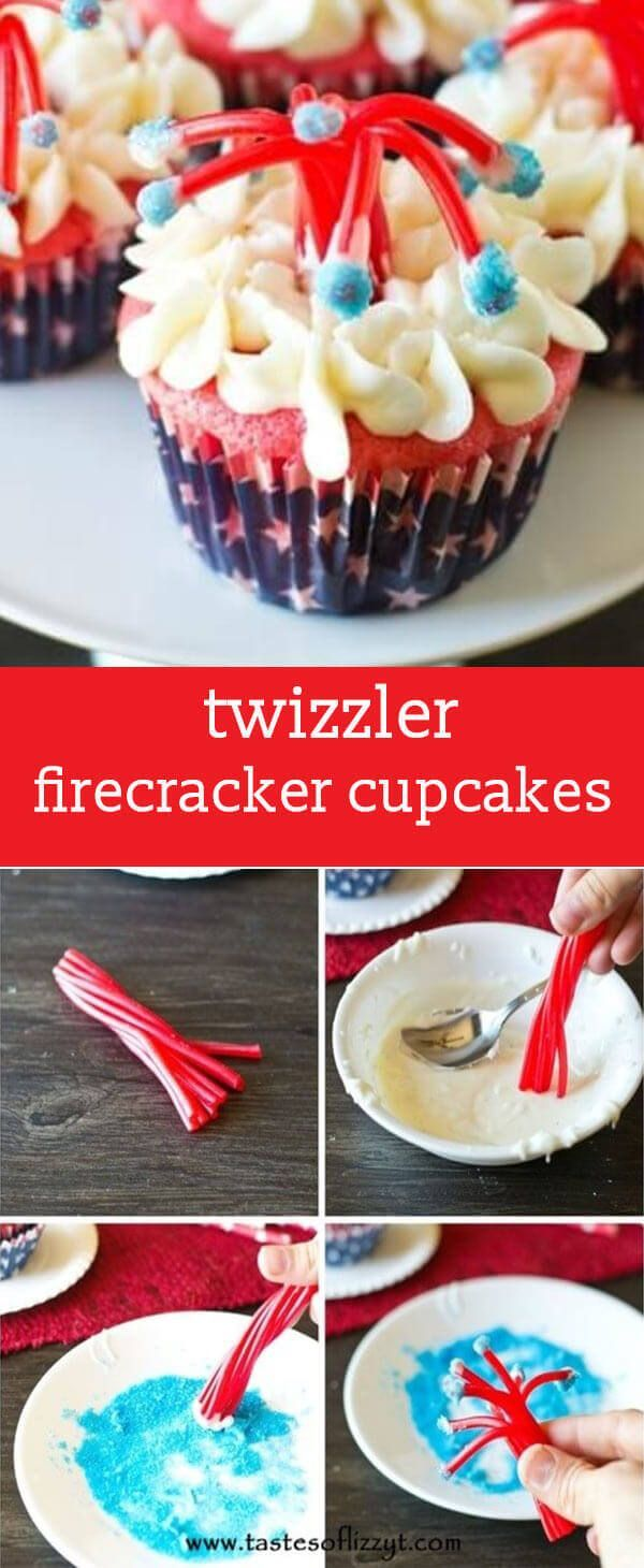 Make a bang at your July 4th party with these Twizzler Firecracker Cupcakes! These patriotic treats are a fun, edible craft for kids to make. via @tastesoflizzyt