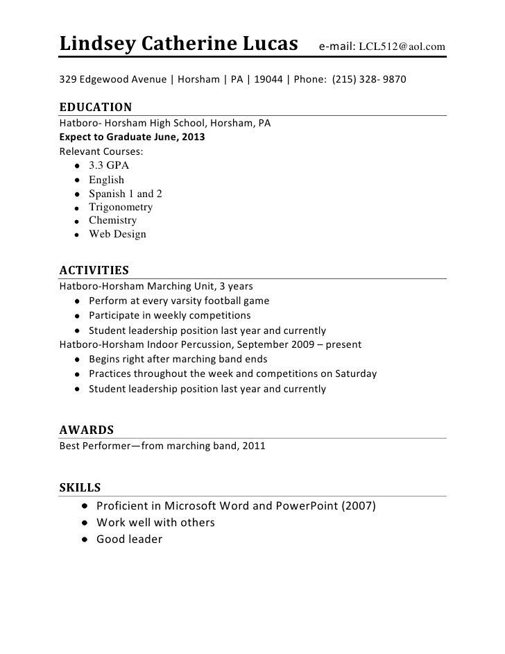college resume examples for highschool students