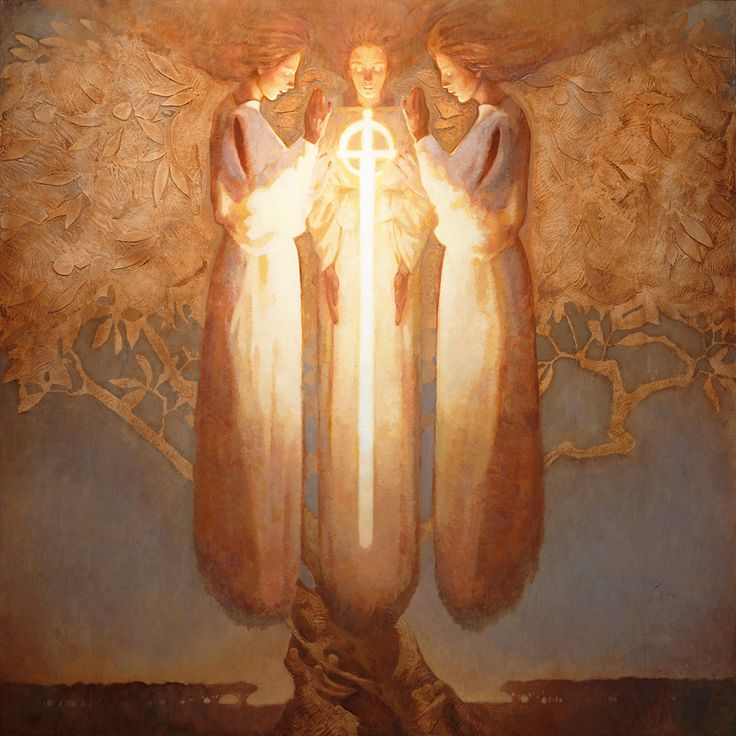Cherubim and a Flaming Sword II by J. Kirk Richards