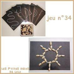 Motricité fine - Formes - Textures  Reproduire des formes avec des graines (haricots, pâtes...). On peut les poser/coller sur des pointillés ou reproduire sur une autre feuille.