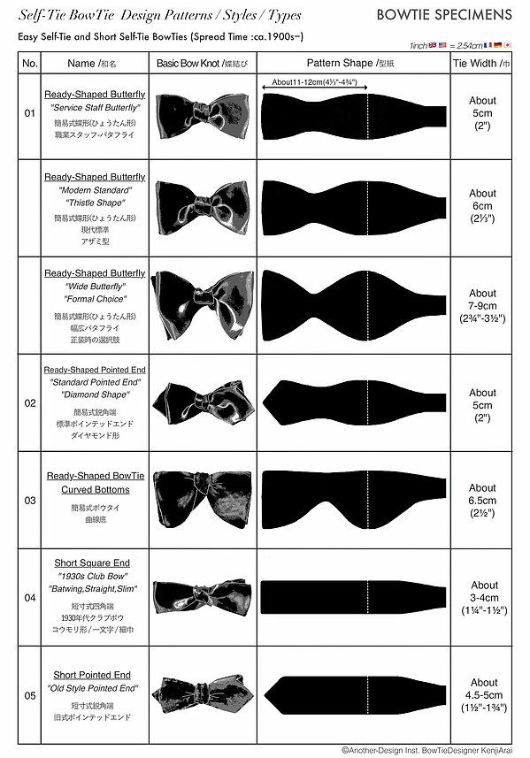 Self-Tie BowTie Styles Types Design Patterns,Easy & Short Types