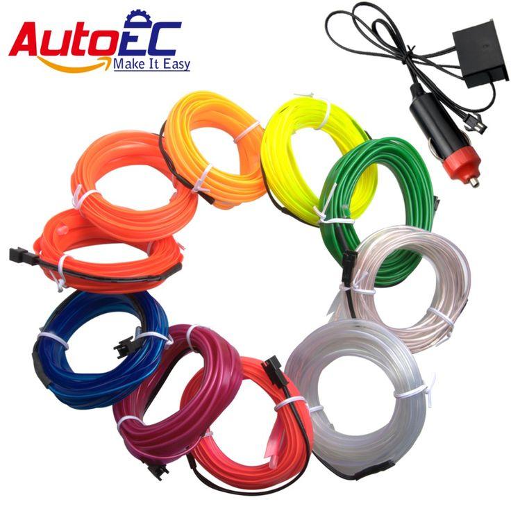 AutoEC 1m/2m/3m/4m/5m flexible neon light glow el wire rope strip wire flat led strip for car interior lights inverter