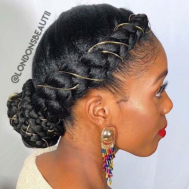 23 Beautiful Braided Updos For Black Hair Stayglam Cornrow Hairstyles Hair Styles Natural Hair Styles