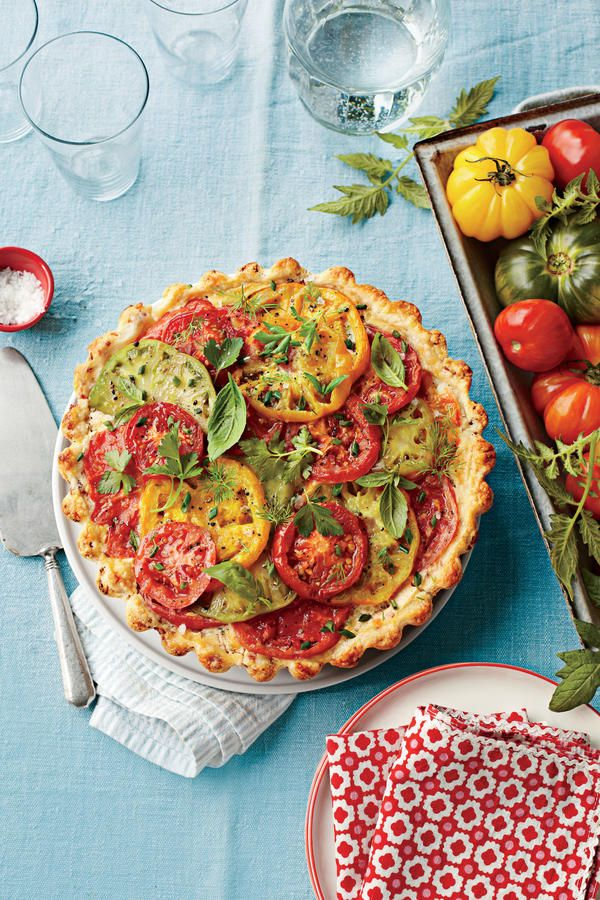 Tomato, Cheddar, and Bacon Pie - The Best Recipes of 2013 - Southernliving. Recipe: Tomato, Cheddar, and Bacon Pie   We raised the ante on classic tomato pie with a sour cream crust studded with bacon, layers of colorful tomatoes, and plenty of cheese and herbs to tie it all together. For best results, seed the tomatoes and drain the slices before baking.