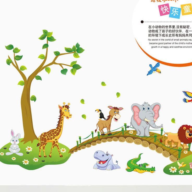 Pas cher Grande Jungle animaux pont vinyle Stickers muraux enfants chambre papier peint Stickers mignon Anime bébé enfants bande dessinée chambre décor de crèche, Acheter  Autocollants muraux de qualité directement des fournisseurs de Chine: