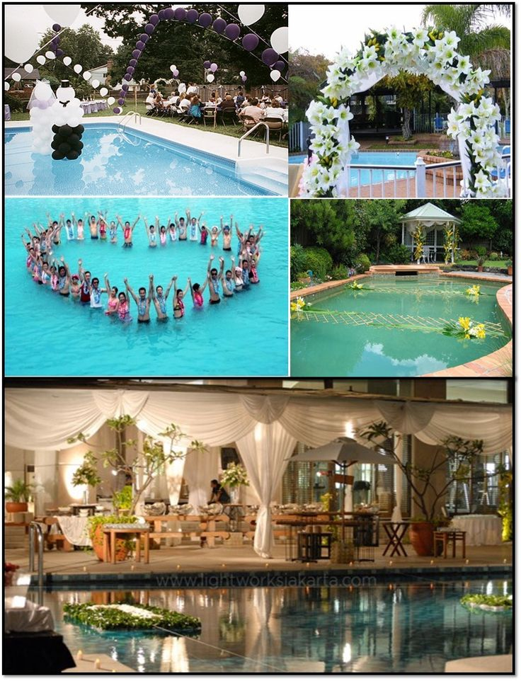 18 best pool wedding images on pinterest pool wedding for Garden pool decoration