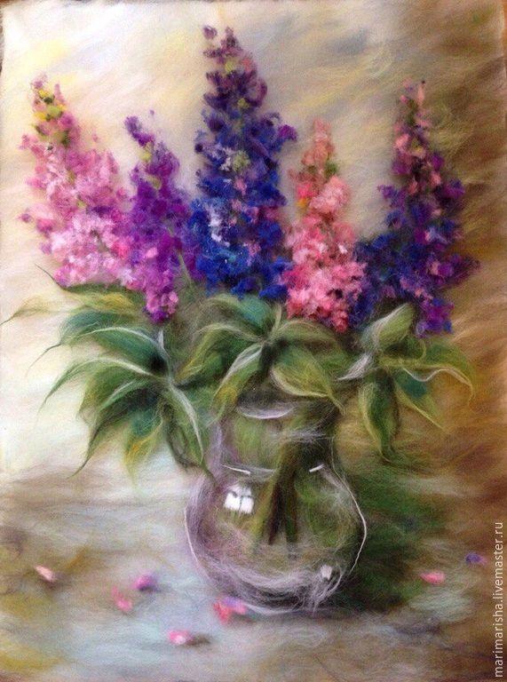 Купить Картина из шерсти Люпины в стеклянном кувшине - разноцветный, картина на заказ, картина из шерсти