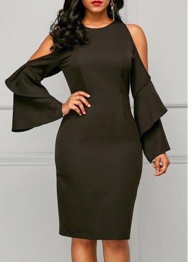 Black Cold Shoulder Open Back Dress.