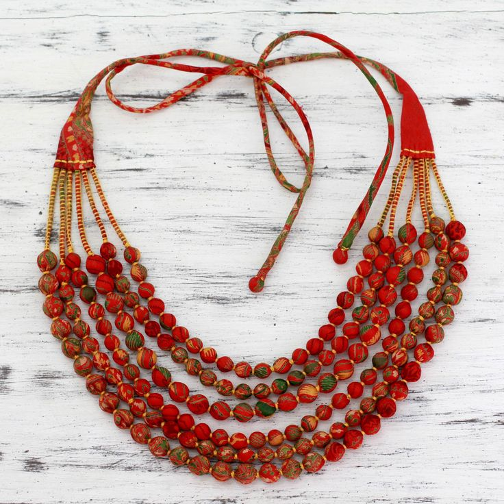 Red Recycled Silk Sari Beaded Necklace - Scarlet Scandal | NOVICA