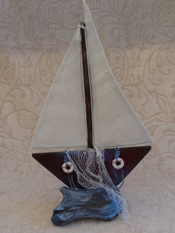 Wooden Sailboat With Sea And Net  Summer Decoration  by SteliosArt
