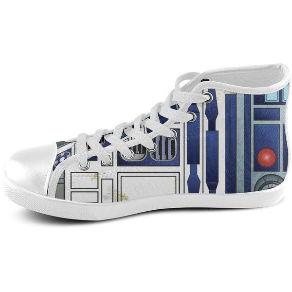 Wowarts Custom Star Wars R2D2 High Top Canvas Shoes for Women ($50) ❤ liked on Polyvore featuring shoes, sneakers, high top trainers, hi tops, hi top canvas sneakers, canvas sneakers and hi top canvas shoes