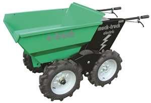 Electric Muck Truck Power Barrow. The 4WD Electric Wheelbarrow manufactured by Muck Truck UK. The Electric Power Barrow is most suited to indoor use where a normal Muck Truck cannot be used due to fumes and emissions. Used by builders, landscapers for moving building materials. For more info: http://www.fresh-group.com/electric-muck-truck.html