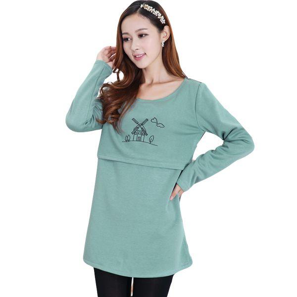 Утолщаются бархат зима теплая кормящих одежда для беременных женщин , кормящих грудью топы футболки беременных кормящих рубашки верхней
