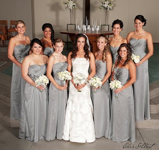 silver bridesmaid dresses / Maid of Honor will be in Silver and bridesmaids will be in Coral!