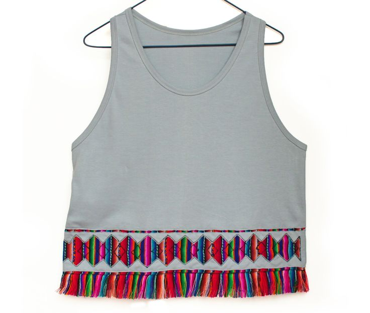 Women's Tshirts, Women's Tops, Trendy Tops, Shirt, Tank Top, T shirt, Rainbow Top, Fringe tshirt with Peruvian fabric, Andean fabric by k9feline on Etsy