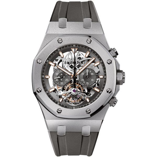 Audemars Piguet Royal Oak Tourbillon Chronograph 26347ti.gg.d004ca.01... (921,300 SAR) ❤ liked on Polyvore featuring men's fashion, men's jewelry, men's watches, titanium, mens chronograph watches and mens titanium watches