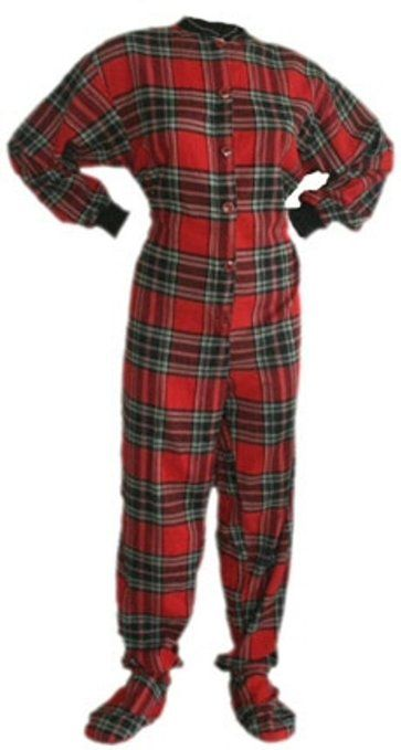 Red Plaid Cotton Flannel Footed #Pajamas w/ Drop-seat