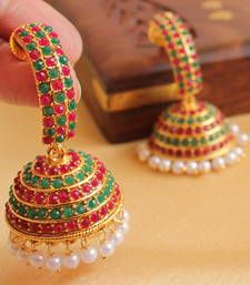 Buy Gorgeous semiprecious ruby-emerald  royal  jhumkkas jhumka online