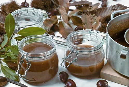 """CHESTNUT  JAM, German Recipe  http://www.bellaonline.com/articles/art178317.asp   Chestnut Jam, """"Kastanien Konfitur"""", is one of the most adaptable of the seasonal recipes produced in Germany's kitchens.      Chestnuts were brought over the Alps to """"Germania"""" by the Romans when they conquered the region, and during fall and winter are found throughout the country making it fun, and easy, for Germany's enthusiastic """"foragers"""" as well as """"frugal foodies""""."""