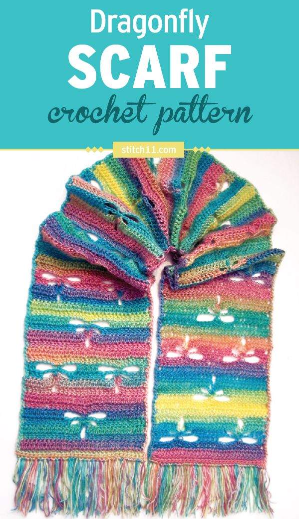 This adorable dragonfly crochet scarf pattern is a fun and easy crochet pattern. This scarf makes a perfect accessory to any outfit. The open spaces in the scarf represent change and reflection.