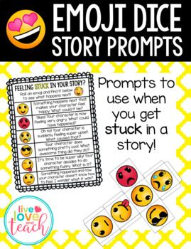 This is a PDF and editable PPT file for a product called Emoji Dice Story Prompts.  Included in this file are: - 2 6-sided dice with Emojis - 3 posters with character prompts to match different emojis - Editable powerpoint with the 3 emoji posters and space to edit your own text or add your own story prompt ideas instead of the ones provided  This would make a great addition to a Work on Writing or Writer's Workshop center!