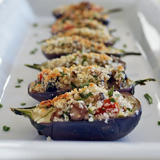 mushroom cous cous stuffed mini eggplant with a sour cream shallot sauce favorite recipes. Black Bedroom Furniture Sets. Home Design Ideas