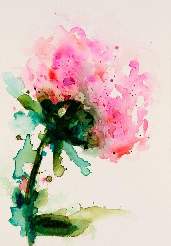 Peony Flower Watercolor Painting Original Watercolor Floral