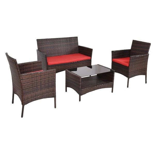 Costway 4 PCS Outdoor Patio Rattan Furniture Set Table Shelf Sofa W/ Red Cushions