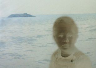 Boy and Ocean, collage, 60 x 40 cm, 2002