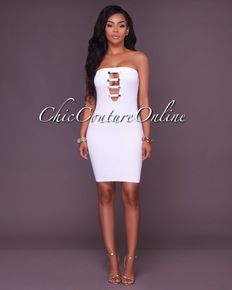 Teena Gold Button Details White Bandage Dress